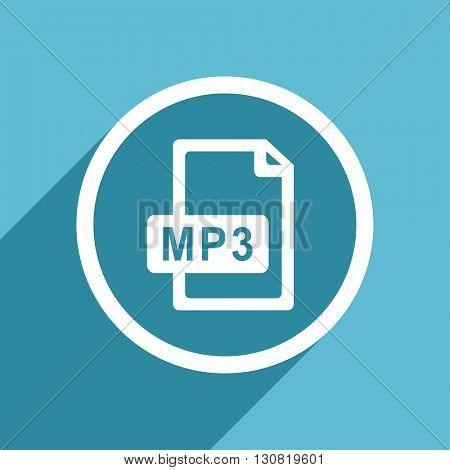 mp3 file icon, flat design blue icon, web and mobile app design illustration