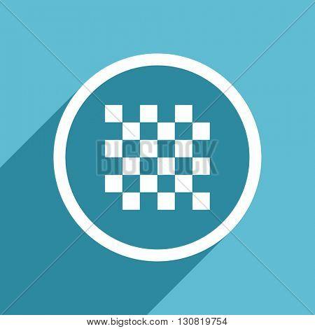 chess icon, flat design blue icon, web and mobile app design illustration