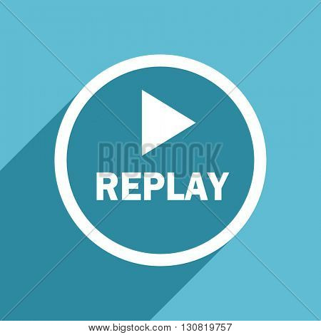 replay icon, flat design blue icon, web and mobile app design illustration