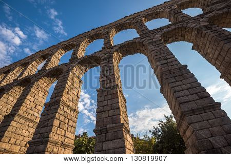 Ancient Roman Aqueduct In Segovia, Castilla Y Leon, Spain