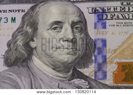 the American dollar money Franklin portrait close-up