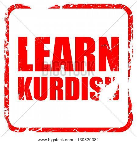 learn kurdish, red rubber stamp with grunge edges