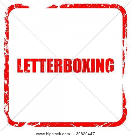 letterboxing, red rubber stamp with grunge edges