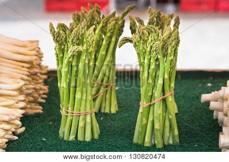 Fresh Asparagus Selling In A Farmers Market