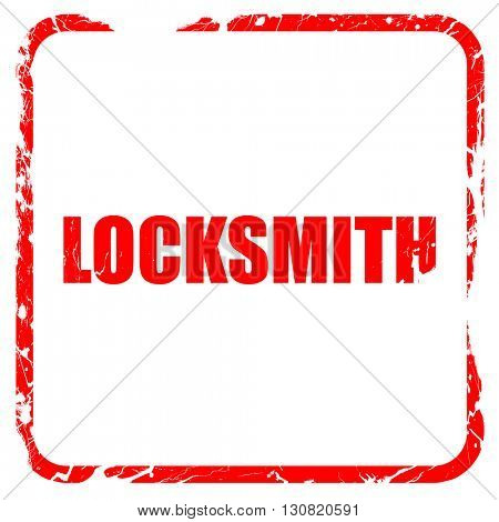 locksmith, red rubber stamp with grunge edges