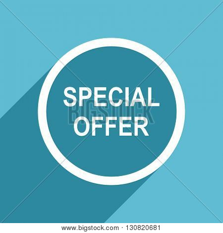 special offer icon, flat design blue icon, web and mobile app design illustration