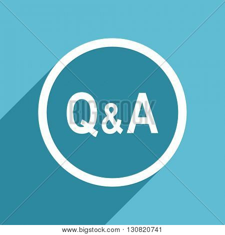 question answer icon, flat design blue icon, web and mobile app design illustration