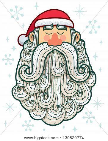 Cartoon portrait of Santa Claus on white background.