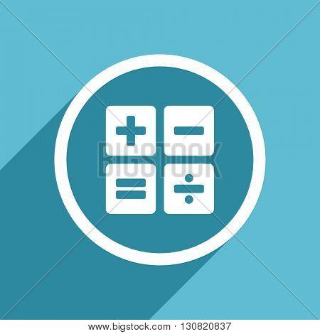 calculator icon, flat design blue icon, web and mobile app design illustration