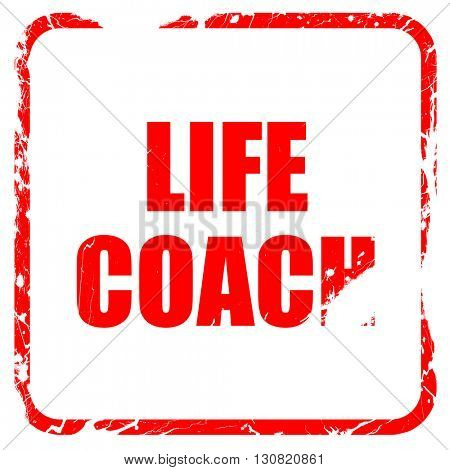 life coach, red rubber stamp with grunge edges