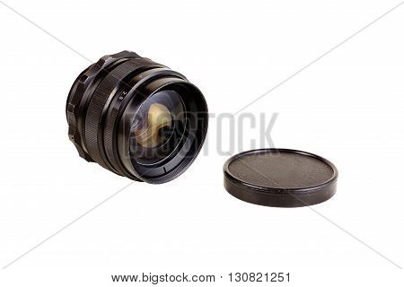 An old manual focus control camera lens isolated on white background with clipping paths