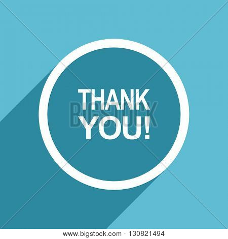 thank you icon, flat design blue icon, web and mobile app design illustration