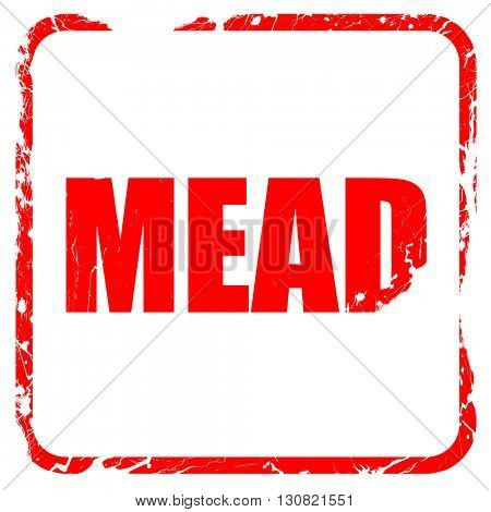 mead, red rubber stamp with grunge edges