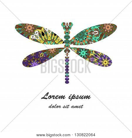 Dragonfly icon vector illustration on white background decorated with colorful mandala pattern. Can be used as logo for fashion jewellery shop and as decor for greeting cards brochures etc.