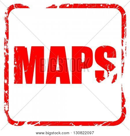 maps, red rubber stamp with grunge edges
