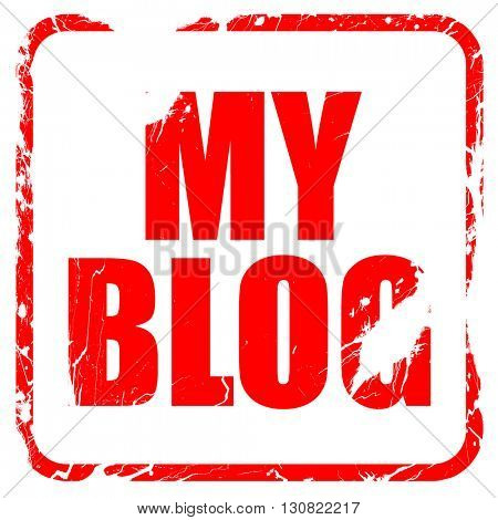 my blog, red rubber stamp with grunge edges