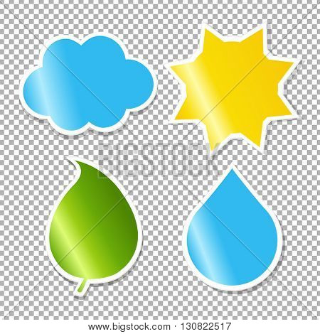 Nature Labels Set, Isolated on Transparent Background, With Gradient Mesh, Vector Illustration