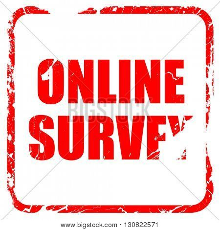 online survey, red rubber stamp with grunge edges