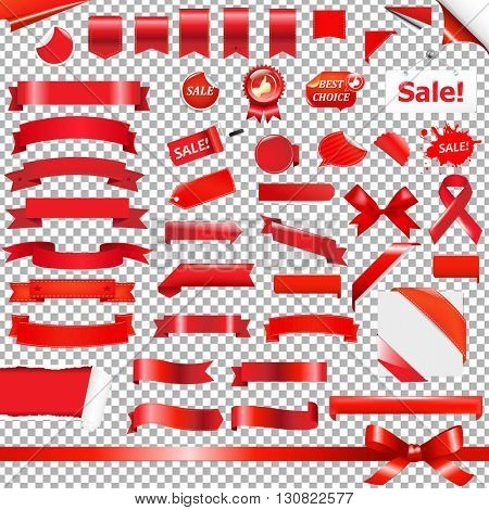 Big Red Ribbon Set, Isolated on Transparent Background, With Gradient Mesh, Vector Illustration