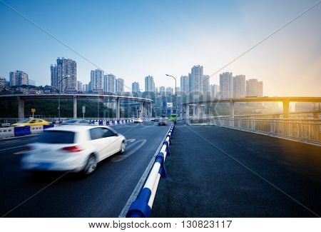motion blurred traffic on highway,chongqing china.