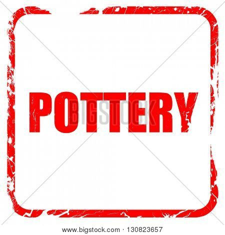 pottery, red rubber stamp with grunge edges