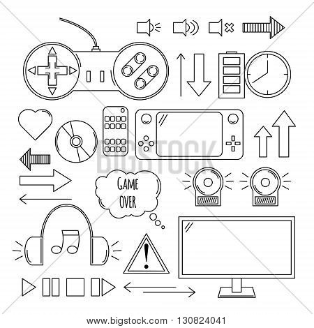 Hand drawn vector illustration - Computer games. Design elements in linear style. Icons set