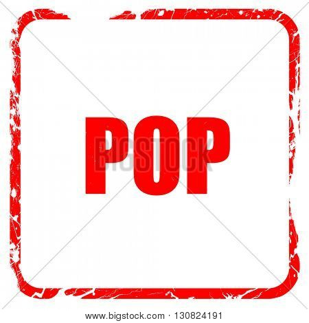 pop music, red rubber stamp with grunge edges