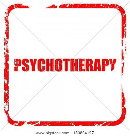 psychotherapy, red rubber stamp with grunge edges