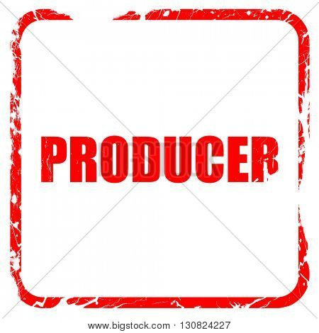 producer, red rubber stamp with grunge edges