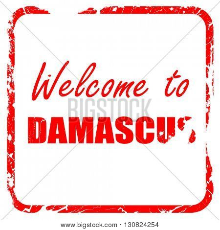 Welcome to damascus, red rubber stamp with grunge edges