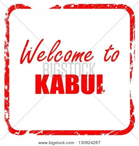 Welcome to kabul, red rubber stamp with grunge edges