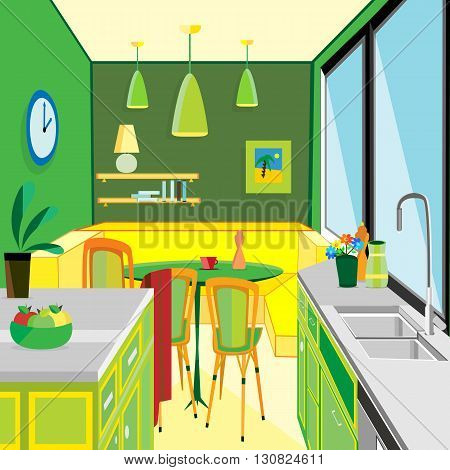 vector illustration of a green kitchen work space and equipment flat design