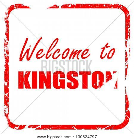 Welcome to kingston, red rubber stamp with grunge edges