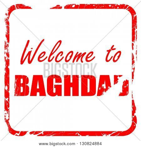 Welcome to baghdad, red rubber stamp with grunge edges