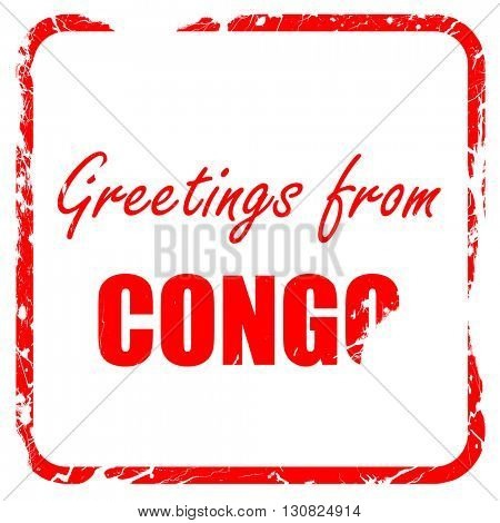 Greetings from congo, red rubber stamp with grunge edges