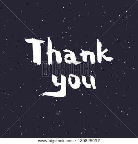 Thank you handwritten vector illustration, brush pen lettering isolated on black background