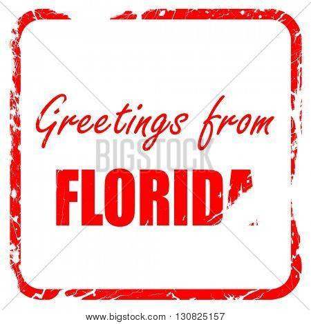 Greetings from florida, red rubber stamp with grunge edges