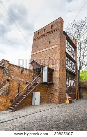 Torun, Poland - May 18, 2016: Medieval Leaning Defence Tower Of Torun Displaced 1.5 Meters As Measur