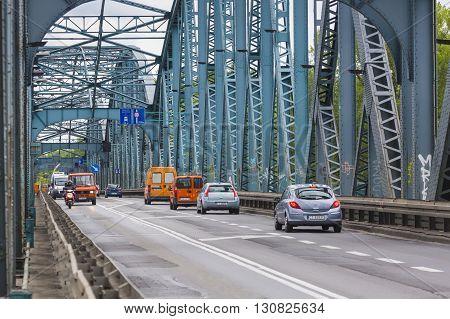 Torun, Poland - May 18, 2016: Poland - Torun Famous Truss Bridge Over Vistula River. Transportation