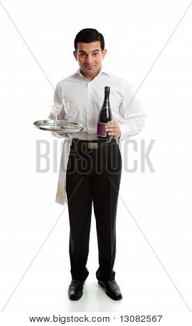 Smiling Waiter Or Servant With Wine And Glasses