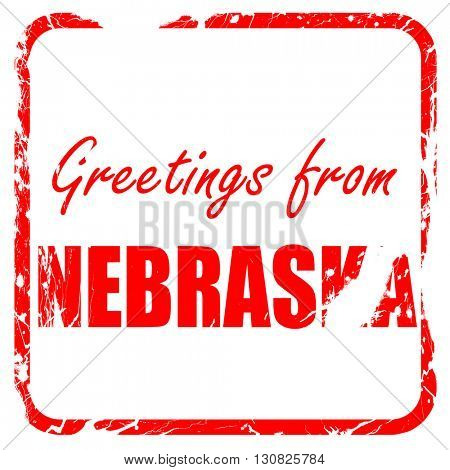 Greetings from nebraska, red rubber stamp with grunge edges