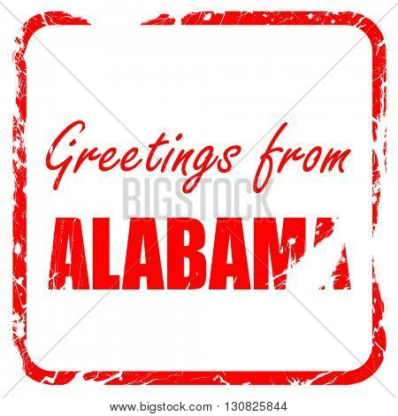 Greetings from alabama, red rubber stamp with grunge edges