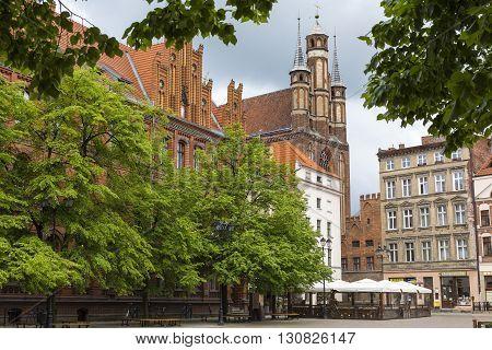 Torun, Poland - May 18, 2016: Traditional Architecture In Famous Polish City, Torun, Poland.
