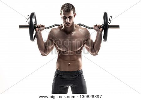 Strong man exercising fitness body building exercises with a barbell, isolated on white background