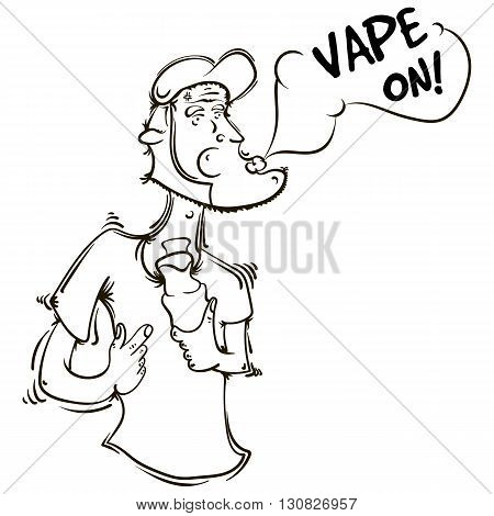 The person or the animation character with an electronic cigarette in hands. Vector illustration