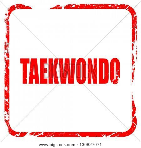 taekwondo sign background, red rubber stamp with grunge edges