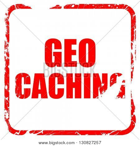 geocaching sign background, red rubber stamp with grunge edges
