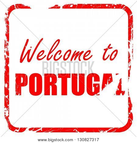 Welcome to portugal, red rubber stamp with grunge edges