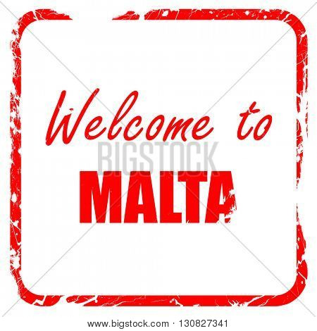 Welcome to malta, red rubber stamp with grunge edges