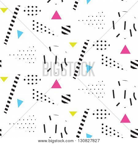 Memphis retro 80s seamless pattern. Checkered lines, abstract shapes, color blocks and dash dots elements in eighties fashion style. Dotted triangles and dashed shapes on white.